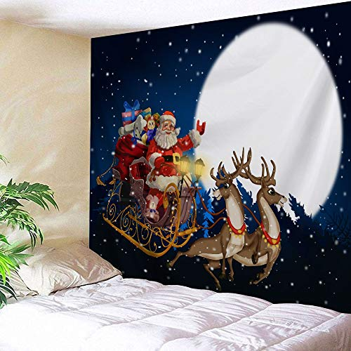 Full Moon Santa - FORHAPPY Christmas Tapestry Wall Hanging, Santa Claus and Reindeer Presents Sled in Full Moon Night Pattern Print Tapestry Christmas Eve Decor Wall Hanging Tapestry for Christmas Day Decoration