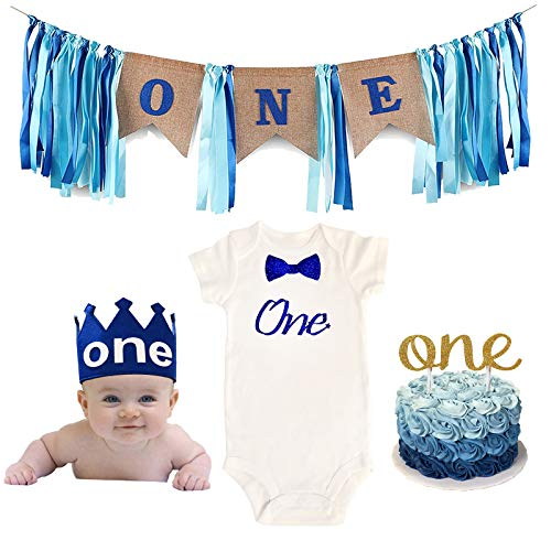 Value Pack Birthday Set: Baby Boy One Year Old 1st Birthday Outfit, Crown, Banner Decoration, Smash Cake Topper (18 Months, OneNew)]()