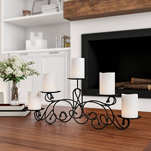 Home 5 Candelabra with Classic Scroll Design-Handcrafted Iron Candle Holder/Centerpiece Decor, Wedding, Event by Lavish (Matte Black)