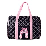 DansBagz by Danshuz Quilted on Pointe Satin Duffel Bag, Black, OS For Sale