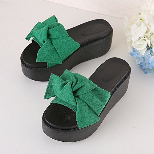 fankou Shoes High and Are Beach 39 to Women's The Anti Slippery Heel Cool Sandals Green Thick Slippers Slope Summer rFOKvpqrg