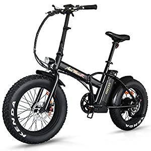 Addmotor Motan Electric Fat Tire 20Inch Bikes 500w 48v Snow Folding Bicycles Lithium Battery 4 Colors M-150 E-bikes For Men(Black)