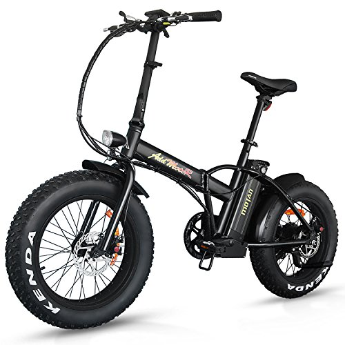 Lithium Bicycle Battery (Addmotor Motan Electric Fat Tire 20Inch Bikes 500w 48v Snow Folding Bicycles Lithium Battery 4 Colors M-150 E-bikes For Men(Black))