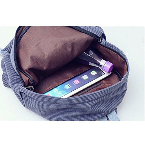 Casual School Corduroy Small Grey for Dark Shoulder OURBAG Vintage Bag Bag Backpack Women Travel Beach Daypack Girls Blue Bag nPqnBSR