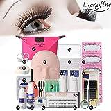 Best Eyelash Extension Kits - LuckyFine Pro 19pcs False Eyelashes Extension Practice Exercise Review