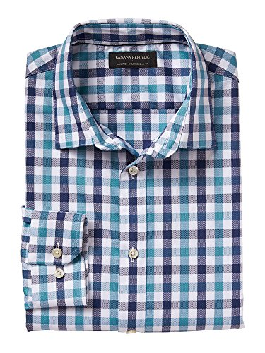 banana-republic-mens-non-iron-tailored-slim-fit-button-down-shirt-large-teal-plaid