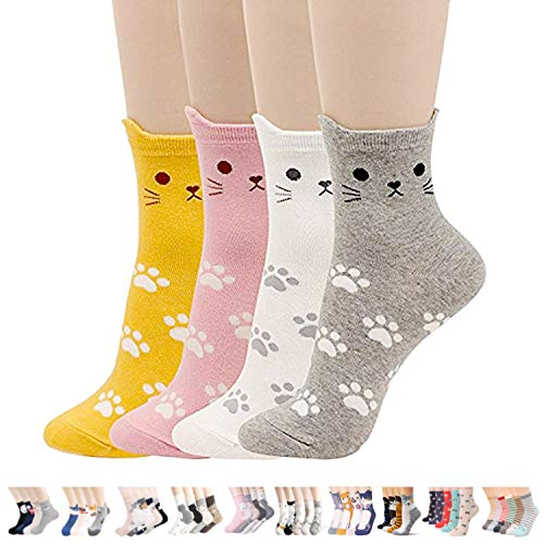 Womens Cute Animal Painting Socks,Crazy and Funny Cotton Sock for women One Size Fits All (Cats Foot Print 4 Sets) (Cotton Socks Female)