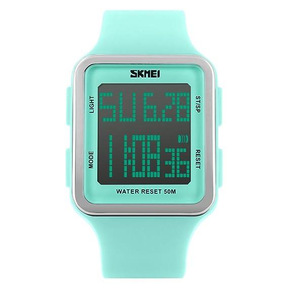 Resistente al agua relojes digitales de moda hombres/Chicos moda jalea multifunción reloj-A