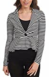 Ladies Slim Fit Striped Jacket Womens Long Sleeve One Button Peplum Blazer Coat#(Black And White Stripe Printed Peplum Blazer Coat#UK 12-14#Womens)