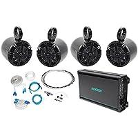 (4) Kicker 41KM652C 6.5 390w Wakeboard Speakers+4-Channel Amplifier+Amp Kit