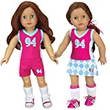 Doll Sports Uniform by Sophia's, 3 Piece Sports Outfit for 18 Inch Dolls | Gift Bag Included