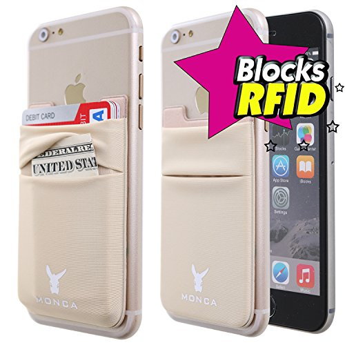 a6d056b73837 Monca RFID Blocking Credit Card [Double Secure] Holder Stick on Wallet  Discreet ID Holder Lycra Spandex Card Sleeves [Lid & Pocket] iPhone 6s 7 ...