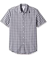 Amazon Essentials Men's Slim-Fit Short-Sleeve Casual Poplin Shirt, Grey Windowpane, Small