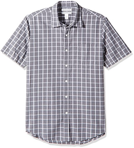 Amazon Essentials Men's Slim-Fit Short-Sleeve Casual Poplin Shirt, Grey Windowpane, Large