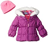 London Fog Baby Girls Winter Coat with Scarf and Hat, Berry Treat, 18MO
