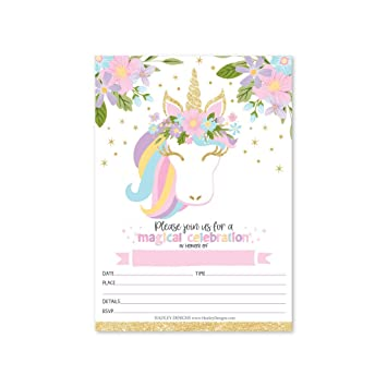 Hadley Designs 25 Pastel Unicorn Kid Party Invitation Birthday Royal Princess Queen Crown Girl Bday Invite Magical Rose Pink Gold Floral Glitter