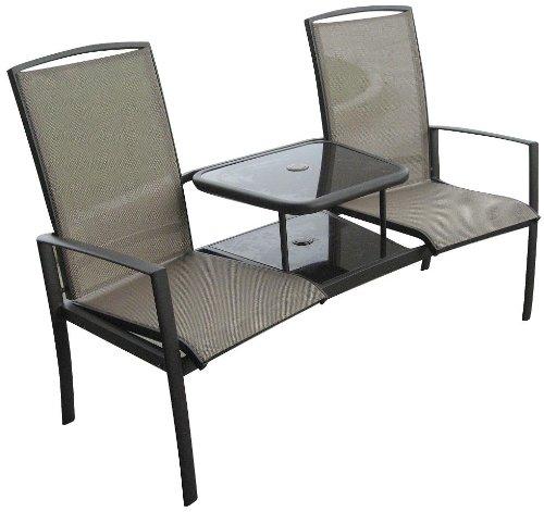 brown textilene duo love seat garden furniture set - Garden Furniture Love Seat
