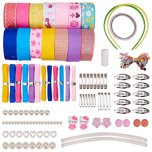 SUNNYCLUE 50 Sets Alligator Hair Clip Ropes Bands Kit Ribbon Hair Bows Hairpins Non-Slip Hair Barrettes Hair Accessories Sets for Girls Teens
