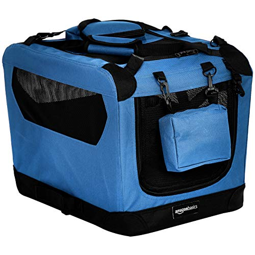 AmazonBasics Premium Folding Portable Soft Pet Dog Crate Carrier Kennel - 21 x 15 x 15 Inches, Blue