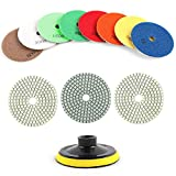 Houseables Diamond Polishing Pads, Granite Grinding Wheels, 4' Diameter, 11 Pack Plus Backer Pad, Multicolor.025' Thickness, Variable Speed Grinder Kit, Marble, Concrete, Stone, Wet, Dry, Countertop