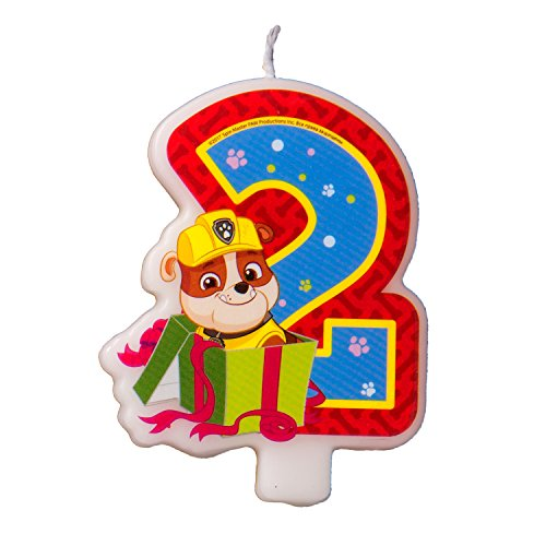 Cake Cupcake Topper Candle 2 Years PAW Patrol Baking Dessert Decorations Happy Birthday Holiday Anniversary Jubilee Party Supply Must Have Accessories for Kids Baby Shower Celebration -