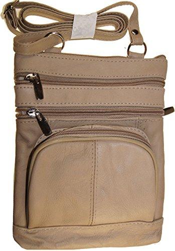 Cream Women And Girls Genuine Leather Cross Body Messenger Handbag, Purse by Wallet (Image #2)