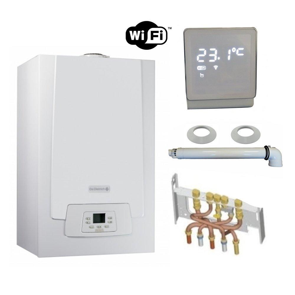 Chaudière Gaz Condensation MPX MI Compact De Dietrich 28 kW Complète (DOSSERET + DOUILLES + VENTOUSE) avec thermostat WIFI connecté