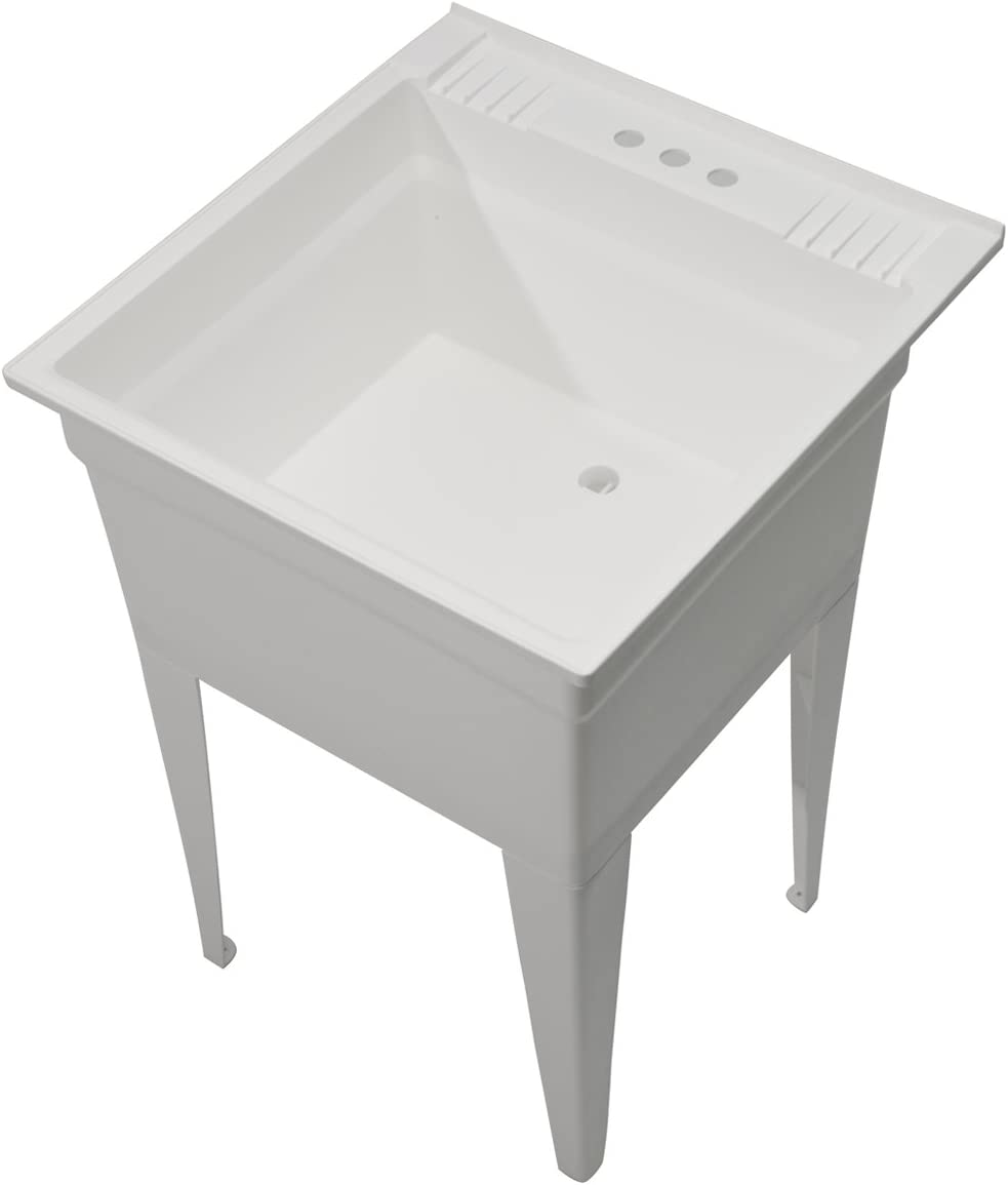 Cashel Heavy Duty Free Standing Utility And Laundry Sink Essential Sink Kit 1960 20 01 White Amazon Com