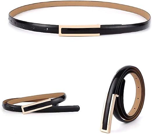 NEW Women Ladies Faux Leather Skinny Thin Gold Metal Buckle Waist Belt Waistband