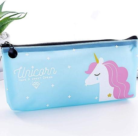 CAR-TOBBY - Estuche para lápices de Unicornio, Material Escolar Kawaii, Bolsa de cosméticos de Poliuretano, Bolsas de papelería con Cremallera: Amazon.es: Hogar