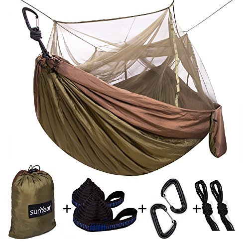 Single & Double Camping Hammock with Mosquito/Bug Net, 10ft Hammock Tree Straps and Carabiners, Easy...