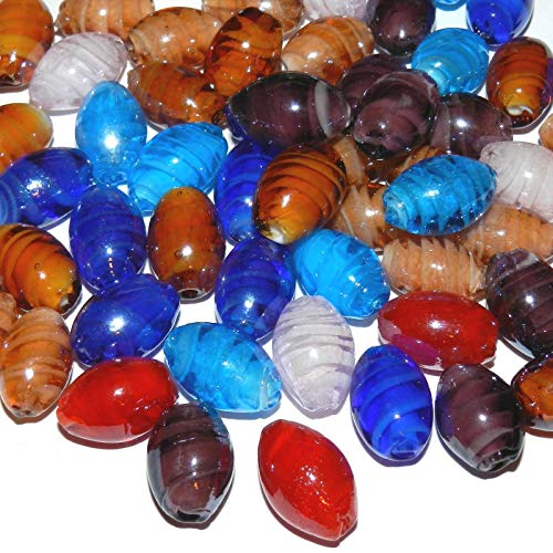 (Bead Jewelry Making Assorted Color Inner Twist 18mm Oval Barrel Lampwork Glass Beads 18pc)