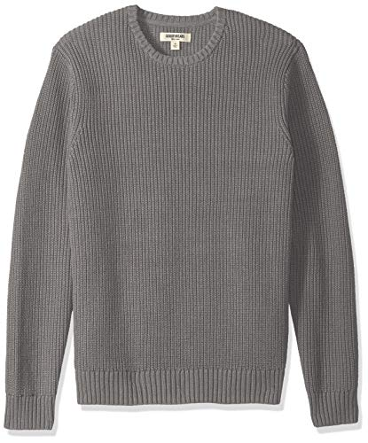 Goodthreads Men's Soft Cotton Rib Stitch Crewneck Sweater, Heather Grey, Medium
