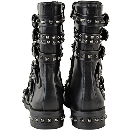Studded Faux Western Shoes Boots Biker Leather Thirsty Detailing Metal Ladies Ankle Black Size Buckle Flat Gun Womens Fashion Strappy qxwt6Fp0H