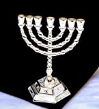 Decorative Menorah , Menora 7 Branch Jewish Israel Holy Land Jerusalem.12 Tribes Design-silver Color 5