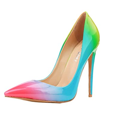 eadaf43be23c Themost Fashion Womens Rainbow Print Pointy Closed Toe Slip on Pencil High  Heel Shoes Pumps (