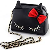 Show Story Women's Girls Black Animal Design Cute Cat Bow PU Leather Fashion Outdoor Crossbody Shoulder Tote Bag,TS001BK,Black
