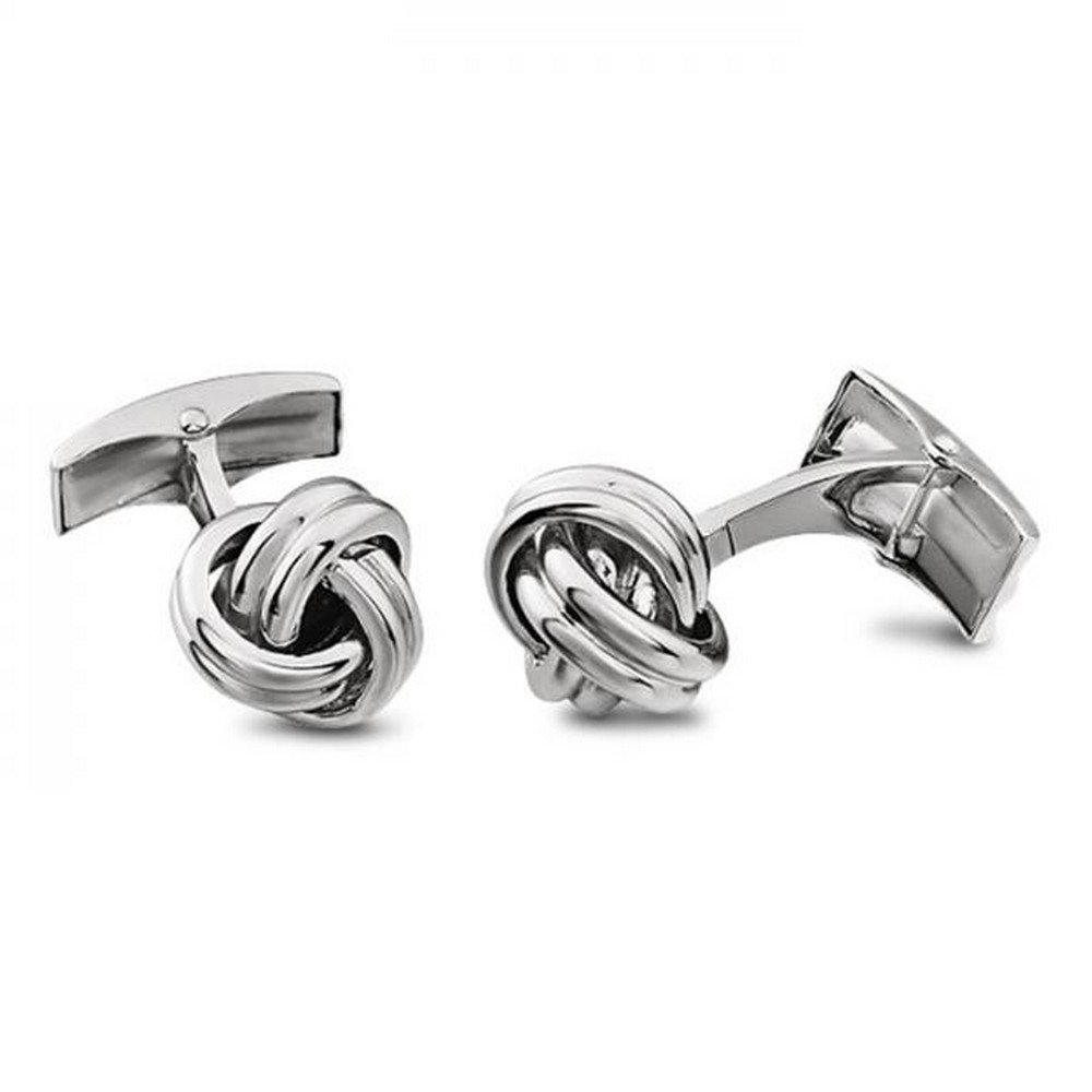 Men's Handsome Love Knots Cufflinks in 14k White Gold