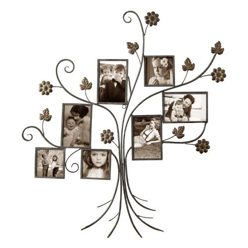 Adeco 7-Opening Decorative Bronze Iron Tree Wall Hanging Collage Photo Frame, 4 by (Leaf Collage)