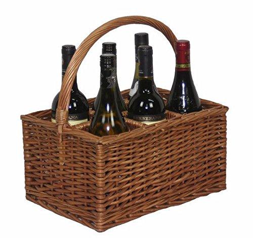 Double Steamed 6 Bottle Carrier Drinks Basket by Red Hamper