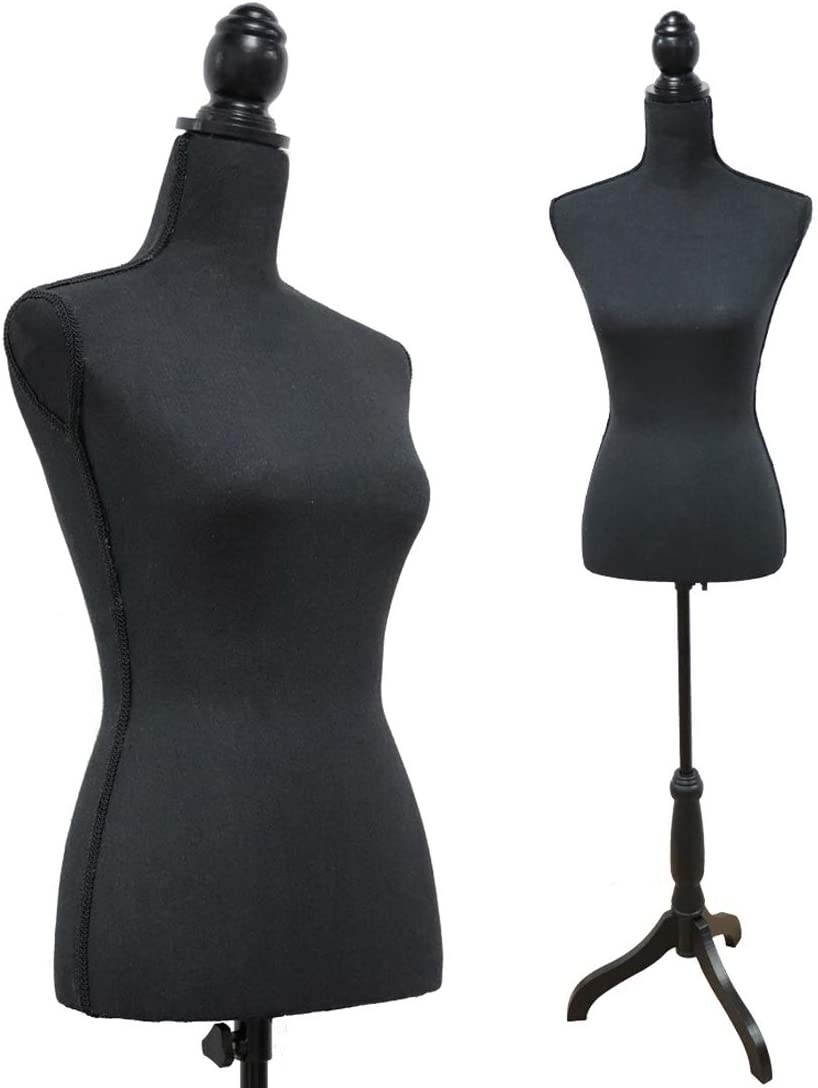 Male Display Dress Form Mannequin in Black Jersey on Traditional Wood Tripod by TSC-Medium-Natural