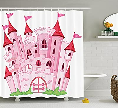 Fantasy Shower Curtain by Ambesonne, Princess Castle Cute Fairy Tale Princess Magic Kingdom Cartoon Illustration, Fabric Bathroom Decor Set with Hooks, Light Pink and Red