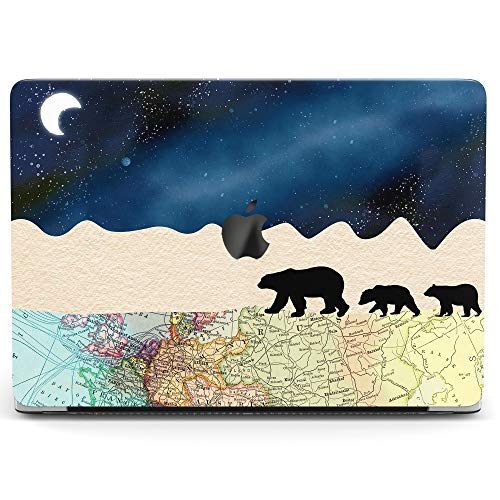 Wonder Wild Case for MacBook Air 13 inch Pro 15 2019 2018 Retina 12 11 Apple Hard Mac Protective Cover Touch Bar 2017 2016 2015 Plastic Laptop Print Polar Bears Cute Map Night Arctic Moon Sky Animal ()