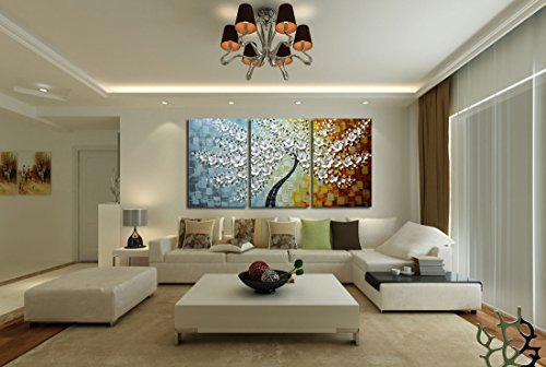 V-inspire Paintings, 20x30Inchx3 Paintings Oil Hand Painting 3D Hand-Painted On Canvas Abstract Artwork Art Wood Inside Framed Hanging Wall Decoration Abstract Painting by V-inspire (Image #5)