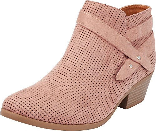 Cambridge Select Women's Closed Round Toe Western Perforated Crossover Strap Chunky Stacked Mid Heel Ankle Bootie (7.5 B(M) US, Dark Blush IMSU)