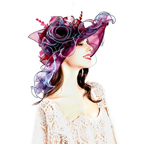 Genuva Women's Organza UV-Anti Church Derby Hat Fascinator Tea Party Wedding Hat Ruffles Wide Brim Bridal Cap (Style 6 - Burgundy)