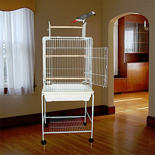 Kailua Kanopy Convertible Top Bird Cage with Stand - 23''W x 19''D x 61''H - White by Bird Cages 4 Less