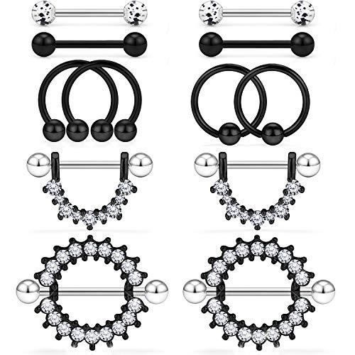 Kridzisw 14G Nipple Tongue Rings 6 Pairs Surgical Steel Nipple Nipplerings Shield Ring Barbell Bar Hoop Piercing Body Jewelry CZ Round Shape for Women Black