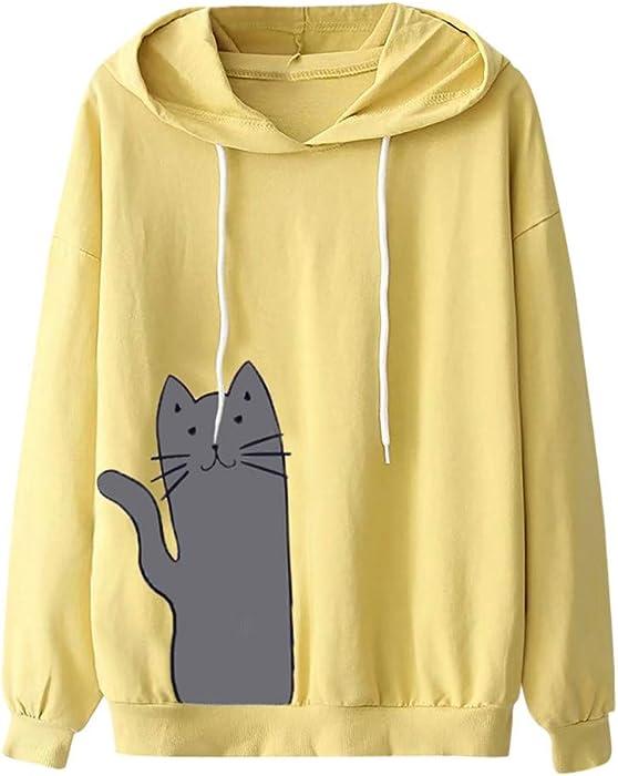 Sudadera con Capucha para Mujer,Moda Manga Larga Casual Impresión de Gato Sudaderas Invierno Jersey con Capucha Mujer Otoño Primavera Blusa Tops Tumblr ...
