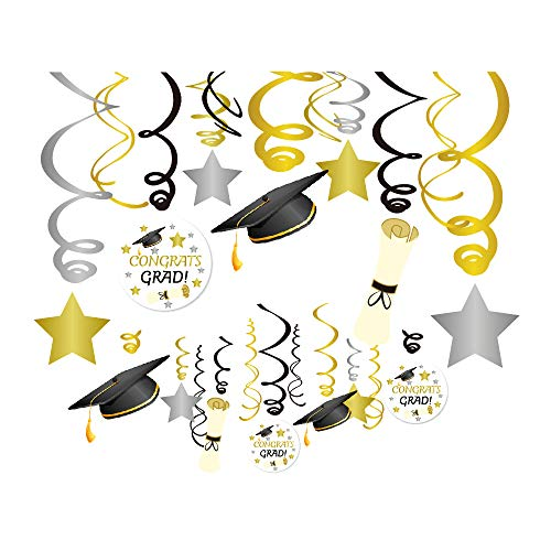 CC HOME Graduation Party Supplies 2019 ,Graduation Hanging Swirl Decorations,Grad Star/Mortarboards/Diplomas Ceiling Foil Ornaments ,Graduation Hanging Streamers Decoration for Boys ,Girls , College ,Kindergarten,High School Prom Grad Party Decoration 30PCS ()